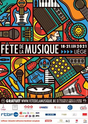 Affiche de la Fête de la Musique à Liège du 18 au 21 juin 2021